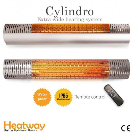 Terrassvärmare HeatWay Cylindro 2000W Silver
