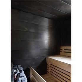 Bastupanel av svartbetsad askfanér